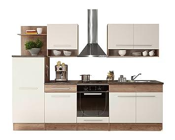 Stella Trading Kuchenprogramme Welcome 1 Kuche, Holzdekor, weiß / monument oak, 280 x 60 x 204 cm