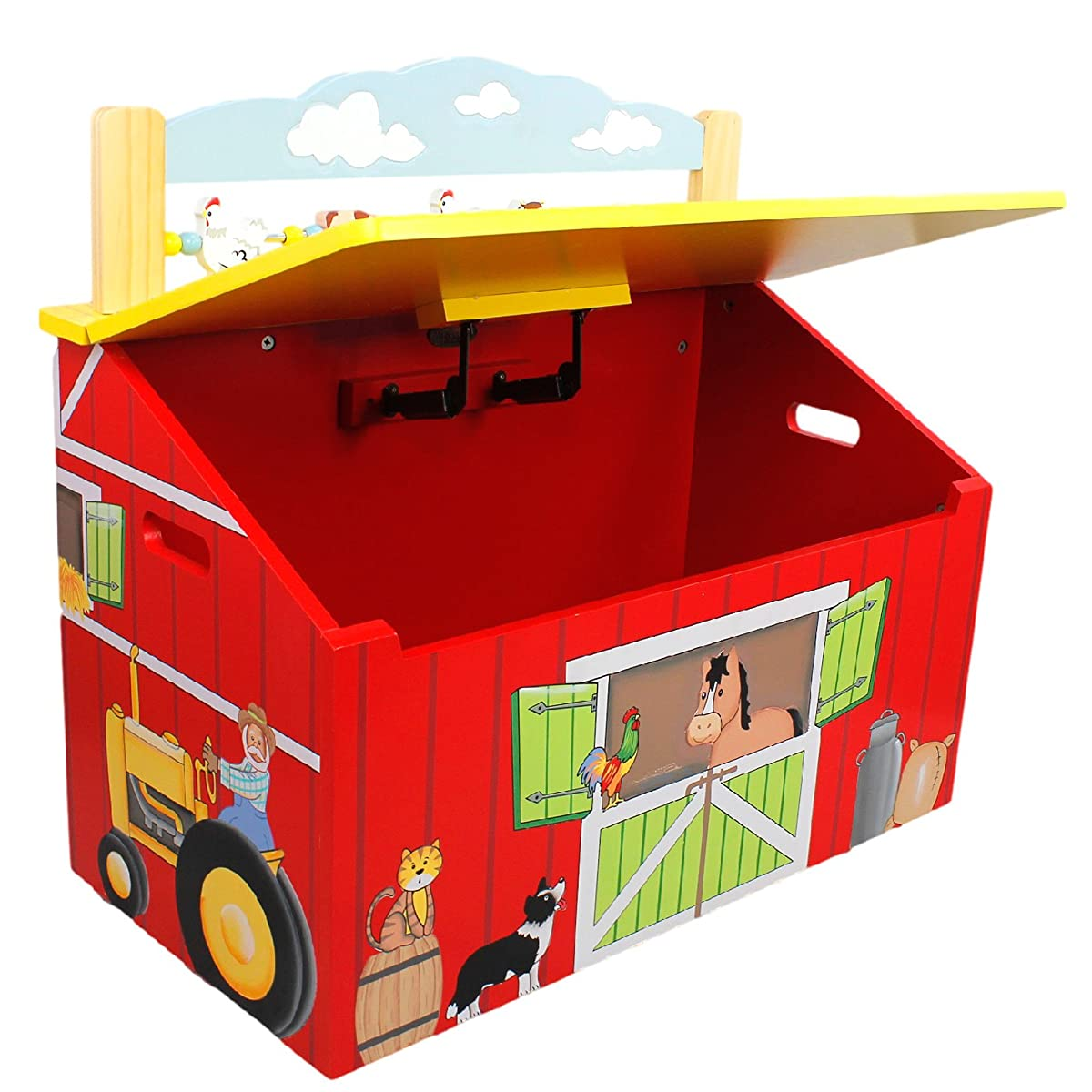 Happy Farm Animals Thematic Kids Wooden Toy Chest with Safety Hinges