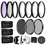 55mm Precision 10-PC Filter Kit Accessory Bundle - Includes UV, CPL, FLD, ND2, ND4, ND8 and 4 Macro Close-up Filters, Lens Hood, Cap, Cases and More (Tamaño: 55mm Bundle)