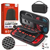 Case for Nintendo Switch, Lipeno Anti-impact Carry Case for Nintendo Switch Accessories & Console, 19+2 Card Slots, Hard EVA Portable Travel Case for Switch with Build-in Pocket and Handle (Color: Black)