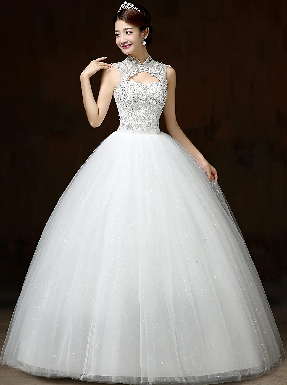 Clover Bridal Vintage High Collar Pearl Wedding Dress for Bride White Under 100 1