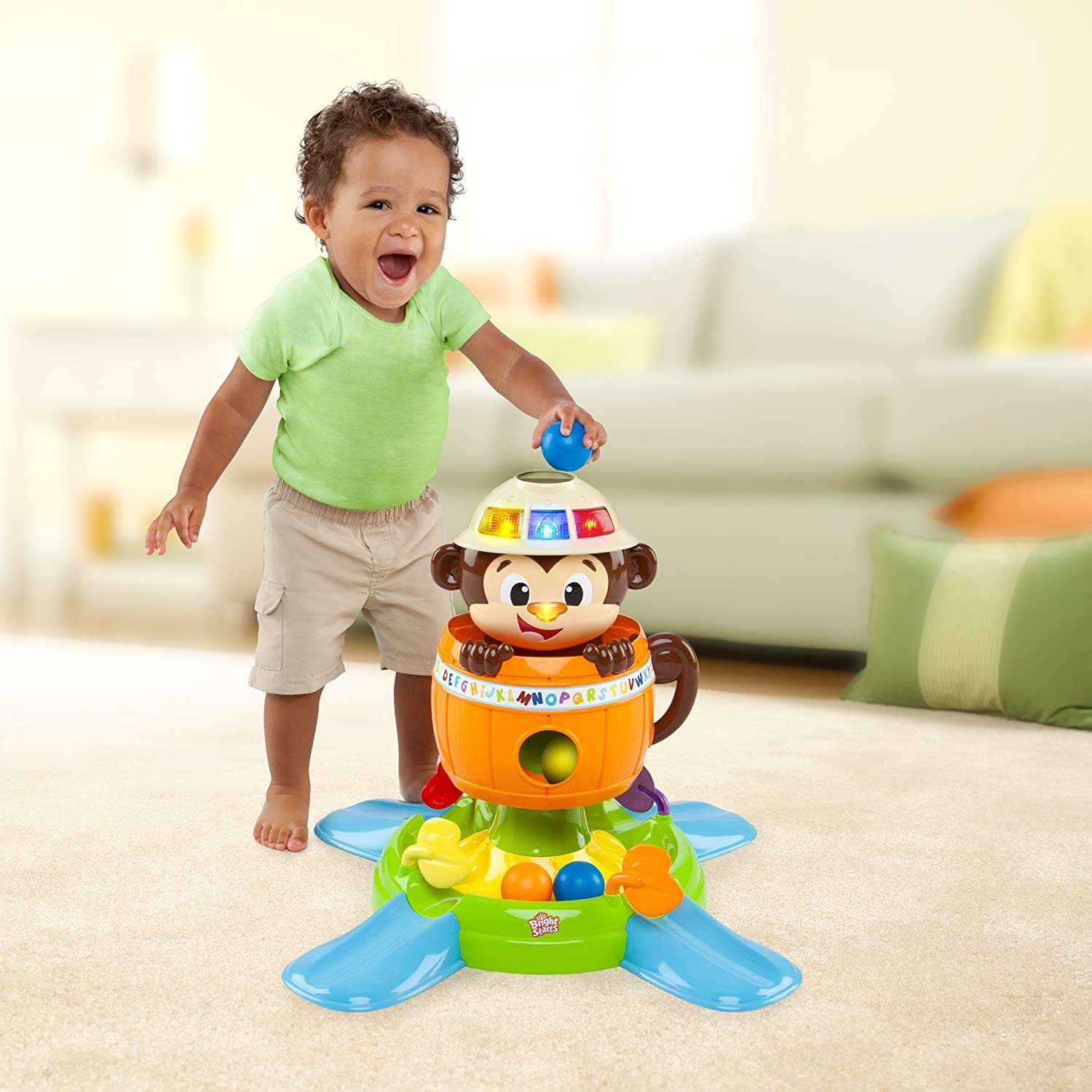 New Spin Toys : Bright starts baby toy hide `n spin monkey new free