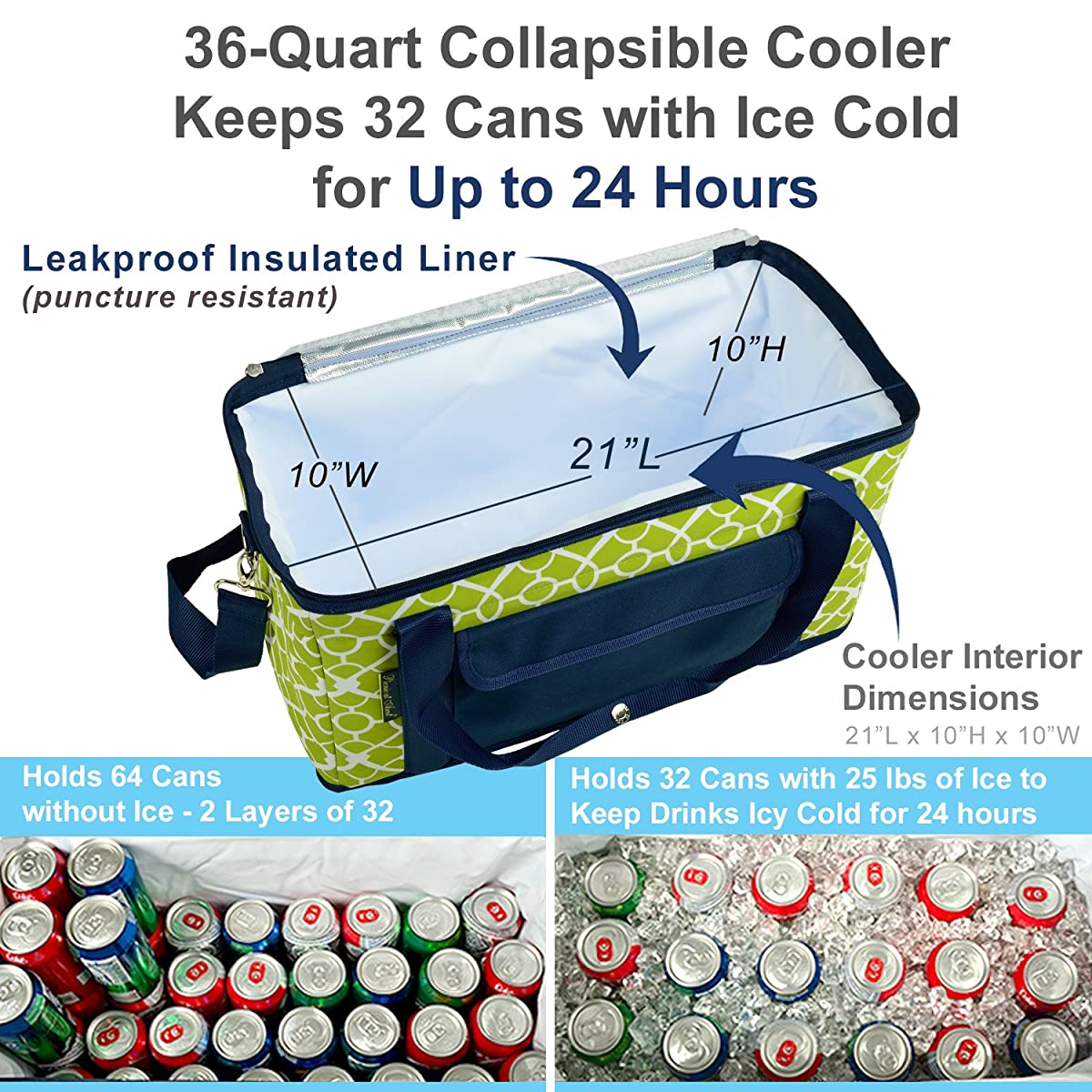 Picnic at Ascot Ultimate TravelCooler with Wheels- 36 Quart - Combines Best Qualities of Hard & Soft Collapsible Coolers - Trellis Green