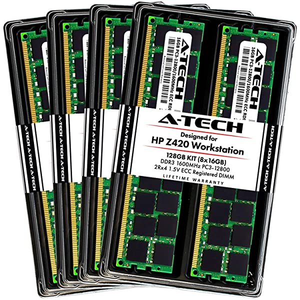 A-Tech 128GB ECC Registered Memory Kit for HP Z420 Workstation (8 x 16GB) ECC RDIMM DDR3 PC3-12800 1600MHz 240-Pin DIMM 2Rx4 1.5V Dual Rank Max RAM Upgrade (Tamaño: 128GB Kit (8 x 16GB) 1600MHz)