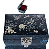 Jewelry Box Jewelry Store Gift Box Music Box Women Gift Mother of Pearl L2001 (Color: Blue, Tamaño: Medium)