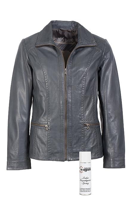 Modische Lederjacke von David Moore Farbe asche mit klarer Schnitfuhrung, eine tolle Jacke aus echtem Leder mit Original Leder-Wagner Spray