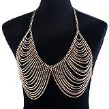 Bikini Bralette Chain Women Golden Tassel Harness Necklace