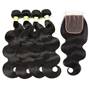 Mureen Brazilian Hair 3 Bundles with Closure (10 12 14 +10, Three Part) Body Wave 4×4 Virgin Hair Lace Closure with Bundles Unprocessed Human Hair Extensions Weave Weft With Closure Natural Color (Color: Three Part, Tamaño: 10/12/14+10 Inch)