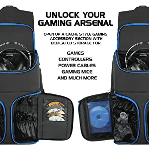 ENHANCE Universal Console Laptop Gaming Backpack for PS4 Pro, Xbox One & VR Sytems - Gear Arsenal Storage for Controllers, Headsets, Games, Mice, Keyboards & Accessories - Blue (Color: Black and Blue)