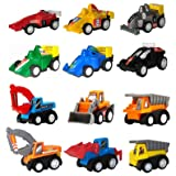 WINONE Pull Back Cars,Mini Toy Cars, 3 4 5 Year Old Boy Toys Car, 12 Pack Assorted Construction Vehicles and Racing Cars,Kids Toddler Truck Toy for Birthday Party Supplies