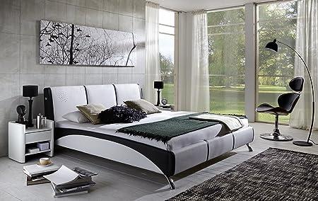 SAM® Design Polsterbett Fun mit Soundsystem, 160 x 200 cm in weiß/schwarz, komfortable Ruckenlehne inklusive Soundsystem, modernes Design mit SAMOLUX®-Bezug, gepolstertes Bett mit edlen Chromfußen