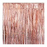 UTOPP 2 Pack Rose Gold Foil Fringe Curtains Photo Backdrop, 3ft x 8 ft Shiny Metallic Tinsel Party Door Curtain Photo Booth Props for Birthday Wedding Bachelorette Christmas Party Decorations (Color: Rose Gold, Tamaño: 3ft x 8ft)