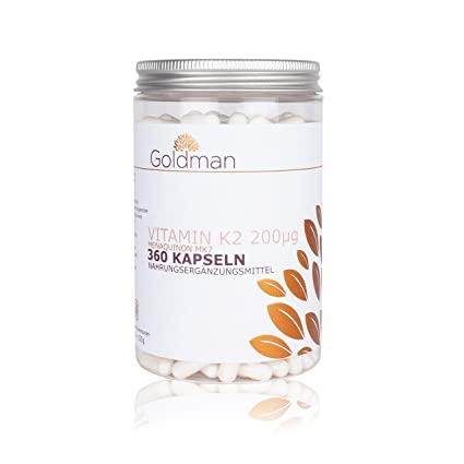 Vitamin K2 MK7 200 µg Kapseln - 360 Stuck = 12 Monate Vorrat - Vitamin K2 hochdosiert - Menaquinon MK7 - naturliche Fermentation - pharmazeutische Qualität - vegan - Made in Germany - Goldman Premium