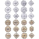 Lot 24pc Clear Rhinestone Crystal Flower Brooches Pins Set DIY Wedding Bouquet Broaches Kit