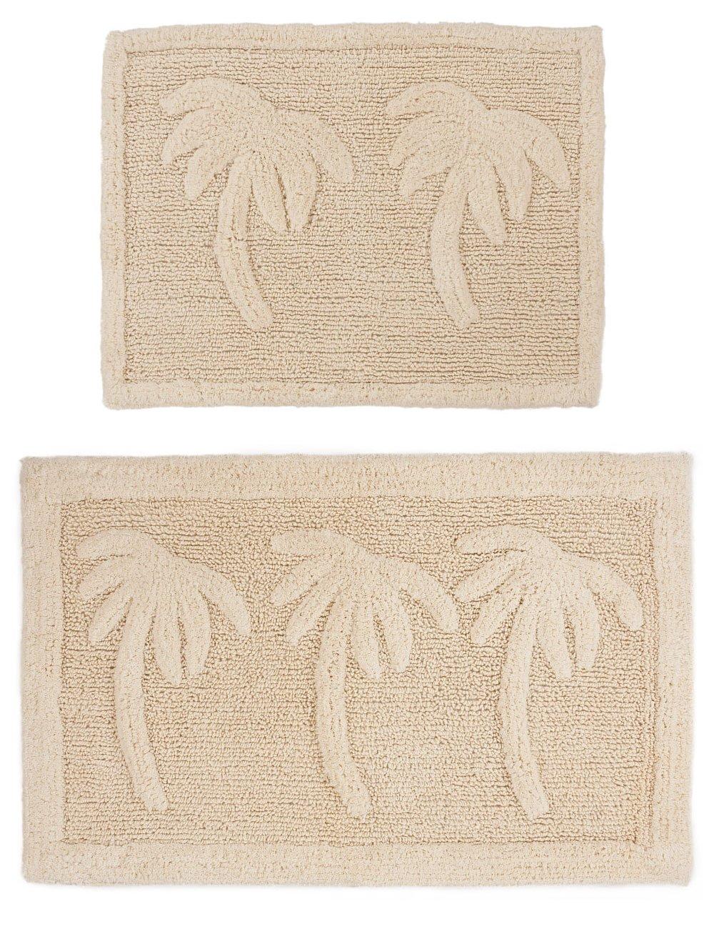 Cotton craft 2 piece bath rug set palm tree ivory for International decor bath rugs