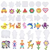 Coopay 20 Pieces Fuse Beads Pegboards Clear Plastic Template Beads Boards Different Shapes with 20 Pieces Colorful Cards for Kids Craft Supplies (Tamaño: size-2)
