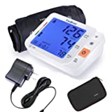 Tediver Digital Blood Pressure Monitor, Large Cuff 22-42cm - Automatic Upper Arm Blood Pressure Cuff Sets with Adapter and Device Case, Backlight LCD screen, 2 Year Warranty (Color: White, Tamaño: BP + Adaptor)