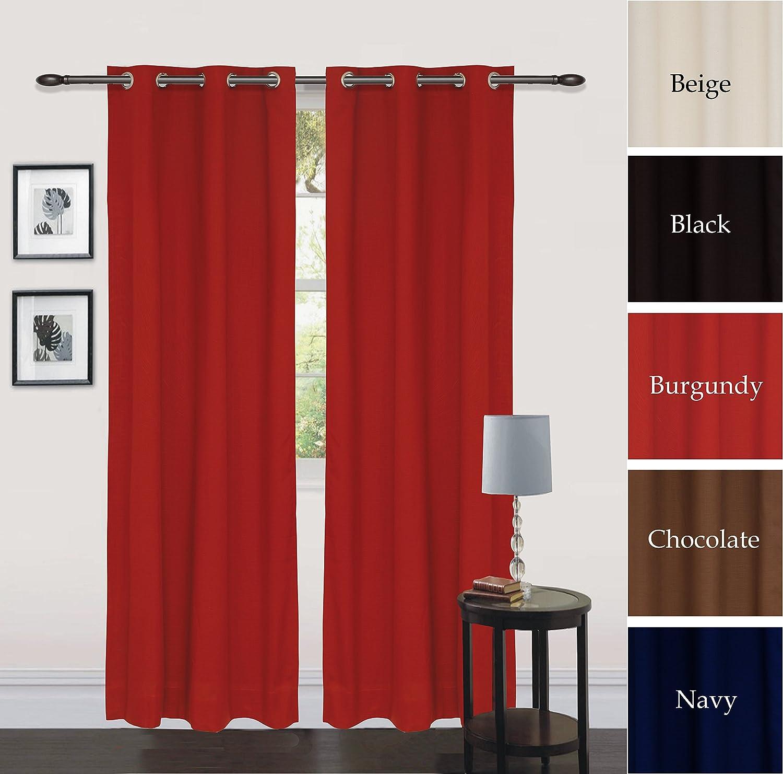 Utopia Grommet Curtain 60 W X 84 L Full Size Easy Care Semitranslucent Burgundy Ebay