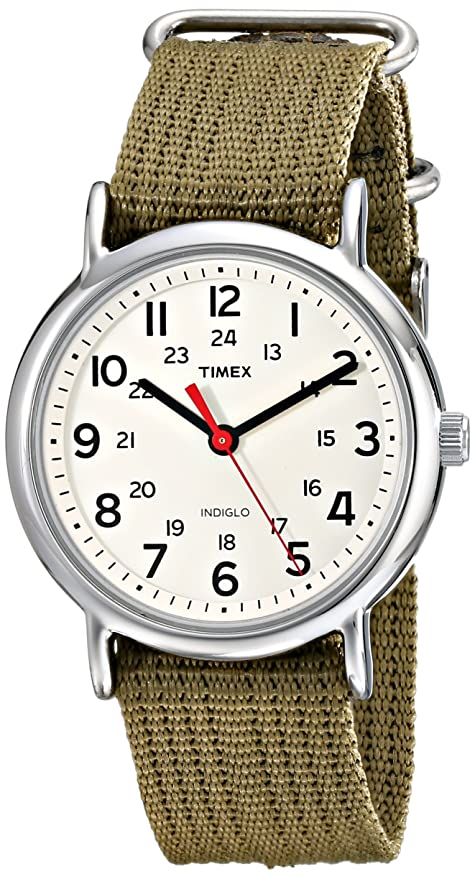 Best watch brands Timex Unisex T2N651KW Weekender Olive Slip Through Strap Watch