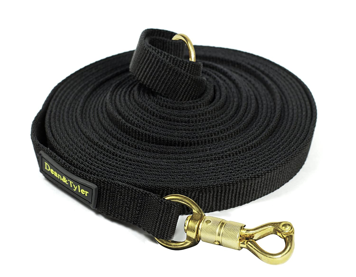 Dean & Tyler Track Single Ply Black Nylon 10-Feet by 3/4-Inch Dog Leash with a Ring on Handle and Smart Lock Snap Hook dean ebubinga
