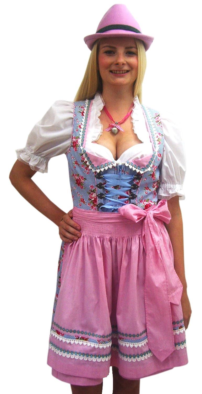 Damen Mini Dirndl 50 cm hell blau Erdbeere mit rot karierter Schürze von Krüger Madl jetzt kaufen