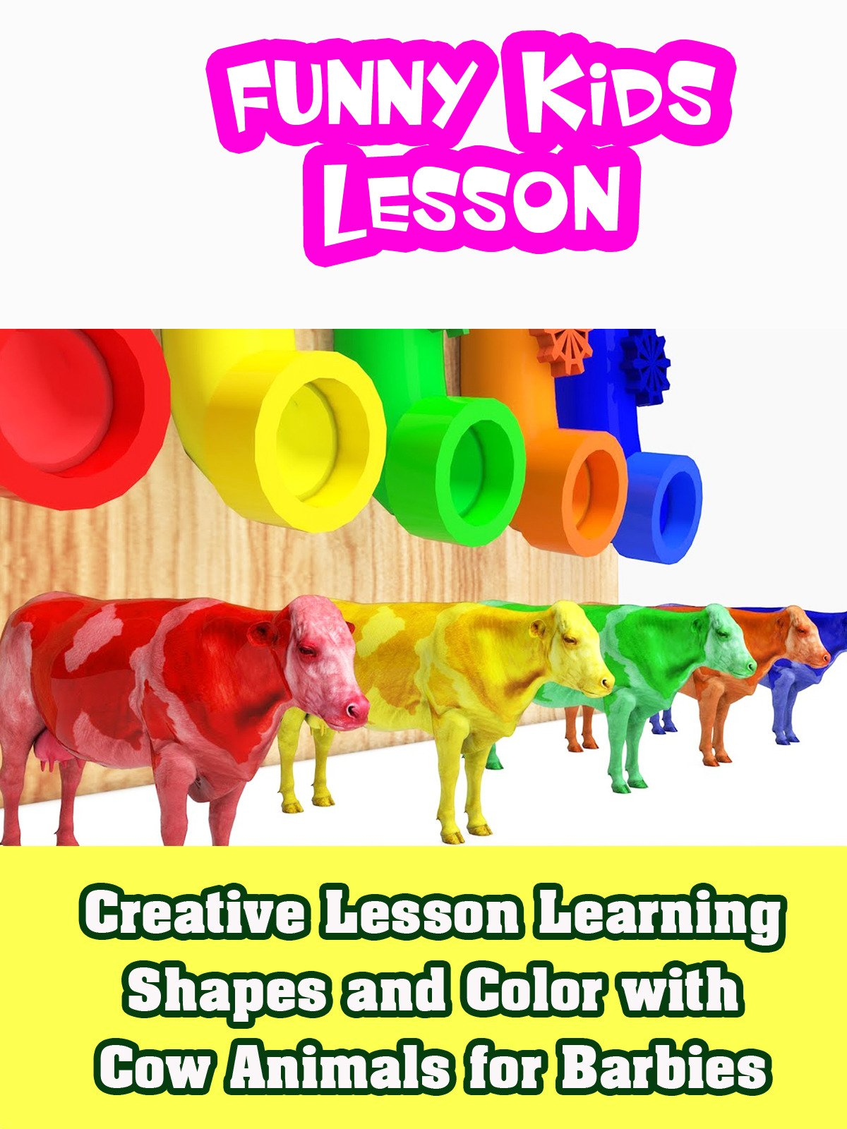 Creative Lesson Learning Shapes and Color with Cow Animals for Barbies