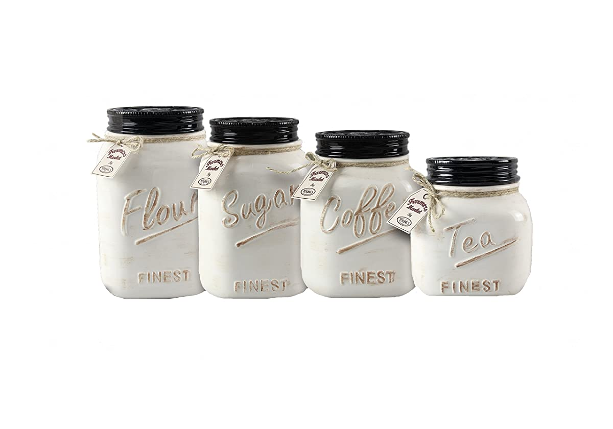 Youngs 4 Piece Ceramic Country Canister Set, 10.75""