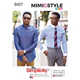 Simplicity Pattern 8427 AA Men's Fitted Shirt with Collar and Cuff Variations by Mimi G, Size 34-42 (Tamaño: 34