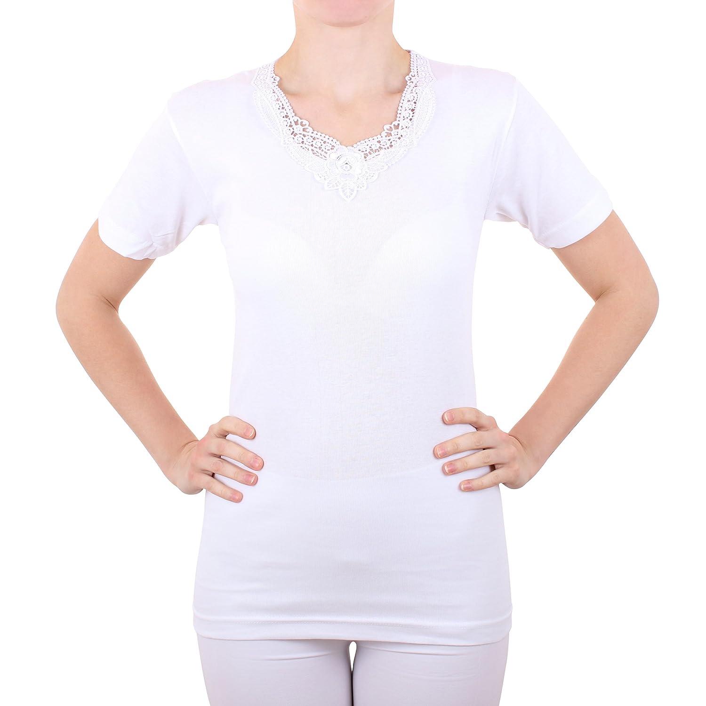2er Pack Damen Unterhemd mit Spitze Feinripp aus 100% Baumwolle kurzarm (Top, T-Shirt, Oberteil) Nr. 326/516 ( Weiß )