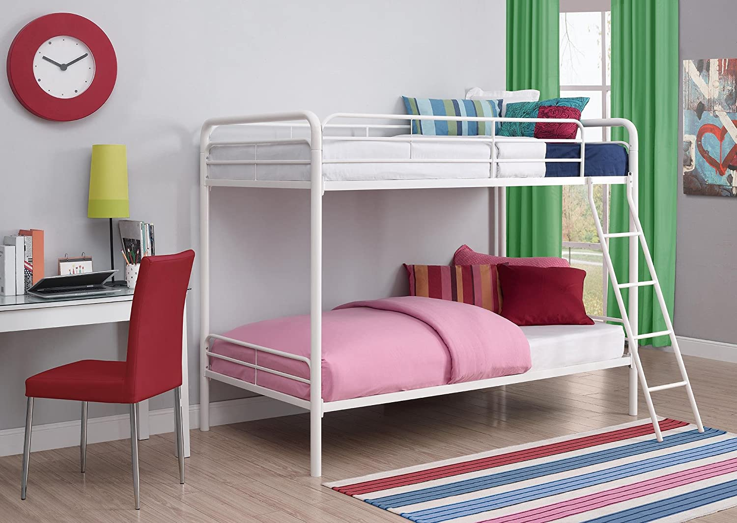 Bunk beds twin over twin size childs bed bedroom furniture for Twin size beds for boys