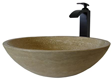 Novatto NSFC-BT434ORB Beige Travertine Stone Vessel with Oil Rubbed Bronze Faucet and Strainer Drain
