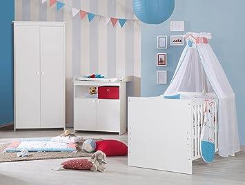 roba Komplett-Kinderzimmer 'Emilia', Babyzimmer Set weiß inkl, Baby- & Kinderbett 70x140 cm, Wickelkommode mit Wickelansatz & 2-turigem Schrank