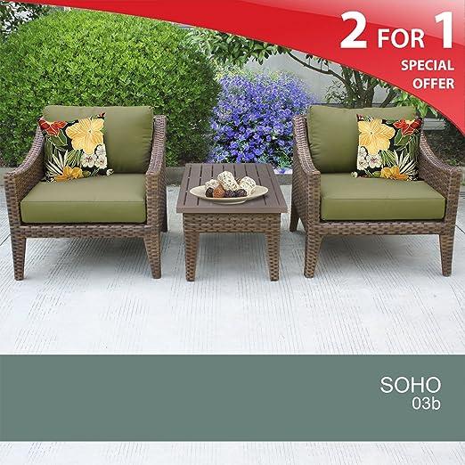 Soho 3 Piece Outdoor Wicker Patio Furniture Set 03b Cilantro 2 Yr Fade Warranty