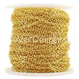 CleverDelights Cable Chain Spool - 30 Feet - Gold Color - 2x3mm Link - 10 Meters (Color: Gold, Tamaño: 2x3mm)