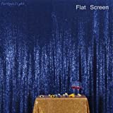 Navy Blue PartyDelight Sequin Backdrop Photography and Photo Booth, Wedding, Curtain, 4FTx6FT (Color: Navy Blue, Tamaño: 4FTx6FT)