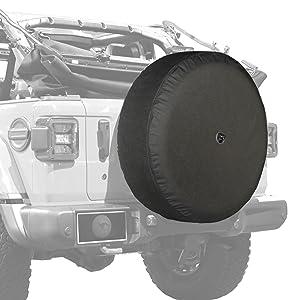 Boomerang - 33 Soft JL Tire Cover for Jeep Wrangler JL (with Back-up Camera) - Rubicon (2018-2020) - Black Denim Vinyl - Integrated Camera Hood (Tamaño: 33 - 285/70R17 (Rubicon))