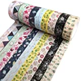 Benvo Washi Tape 33 Feet Long 15mm Wide Japanese Masking Tape for Arts & Crafts, Scrapbook, Bullet Journal, Planner, Gift Wrapping Different Theme Washi Tapes (Set of 10 Rolls) (Color: Patterns C, Tamaño: Cute Patterns 1)