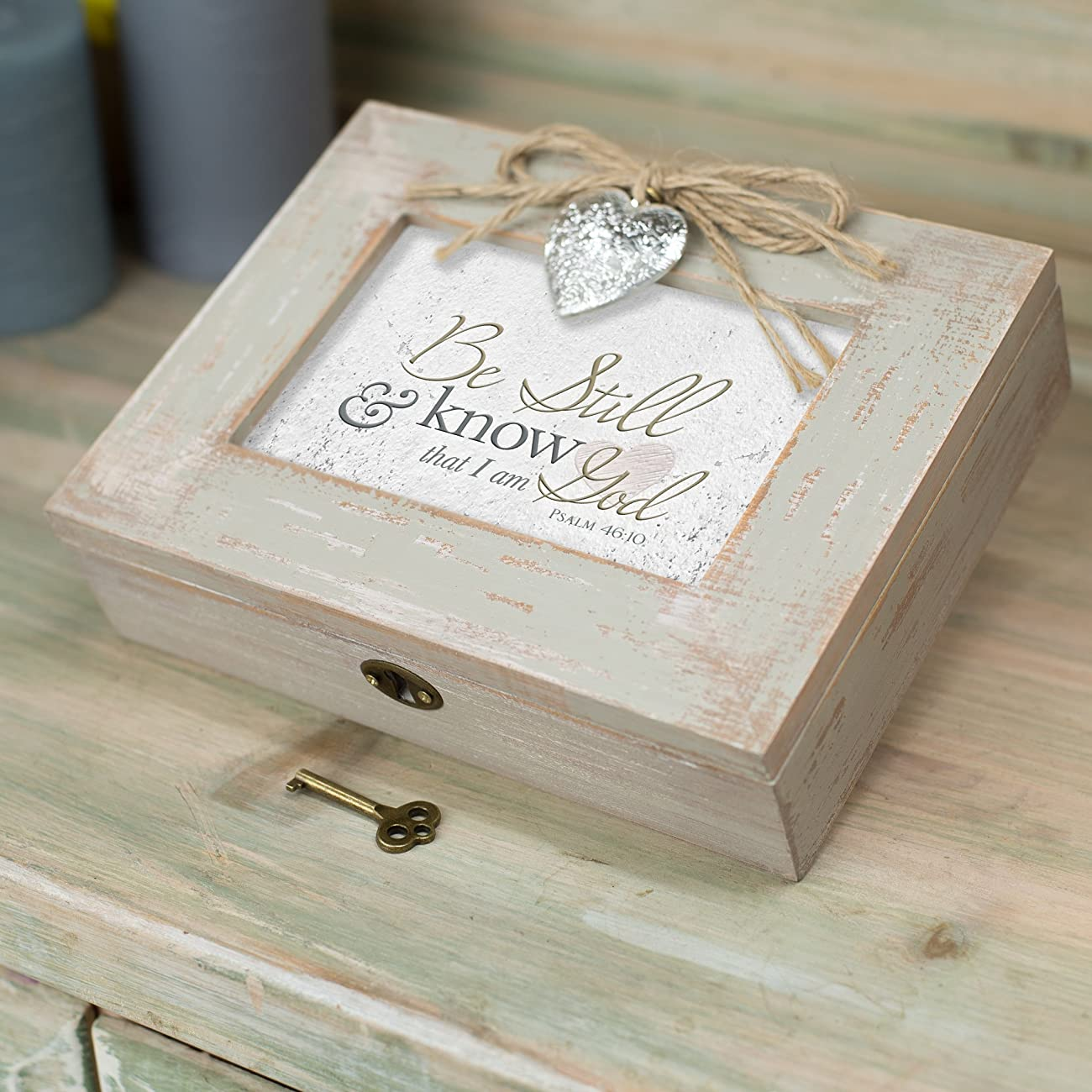 Be Still & Know That I am God Distressed Wood Locket Jewelry Music Box Plays Tune Amazing Grace 2