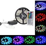 EPBOWPT16.4Ft 5M SMD3528 RGB Waterproof 300 LED Changing LED Strip Lights Kit Flexible Strip Lights with 44 Keys IR Controller and Power Supply Adapte