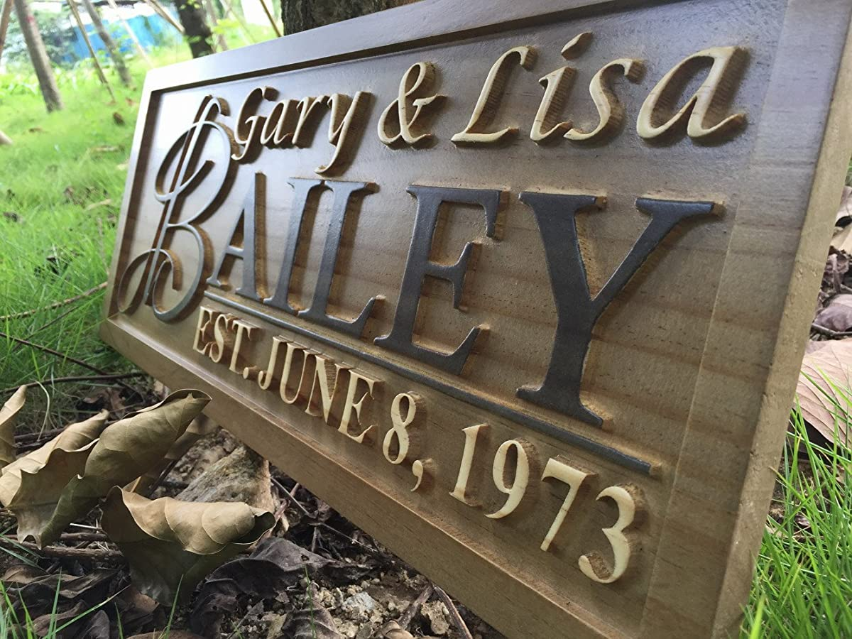 "wpa0002 Personalized Custom Wedding Anniversary Family Sign Surname Last First Name Rustic Home Décor Housewarming Gift 5 Year ""wood"" Anniversary Gift Wooden Signs"