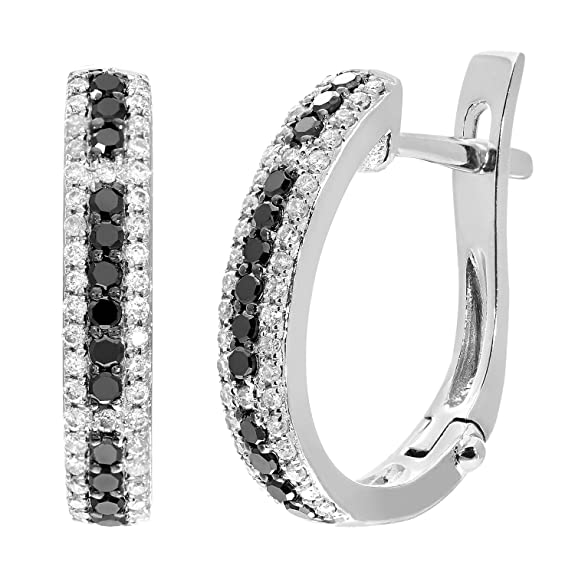 Naava 9 ct White Gold 0.47ct Black and White Diamond Hoop Earrings