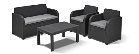Allibert Carolina Lounge Set - Graphite with Grey Cushions