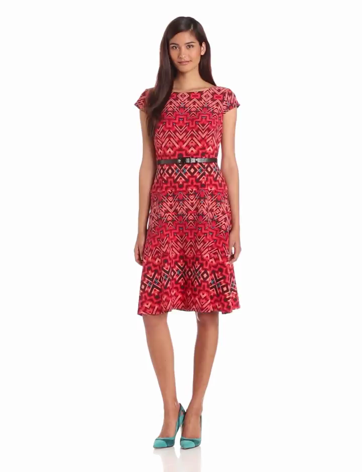 Anne Klein Womens Aztec Burst Swing Dress, Capri Multi, 6