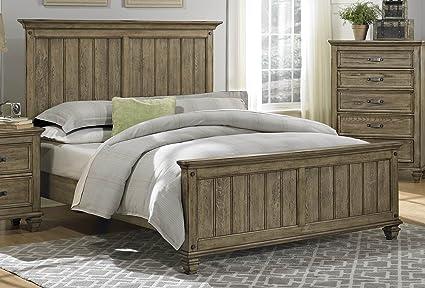Homelegance Sylvania Panel Bed In Oak Veneered Driftwood - Queen