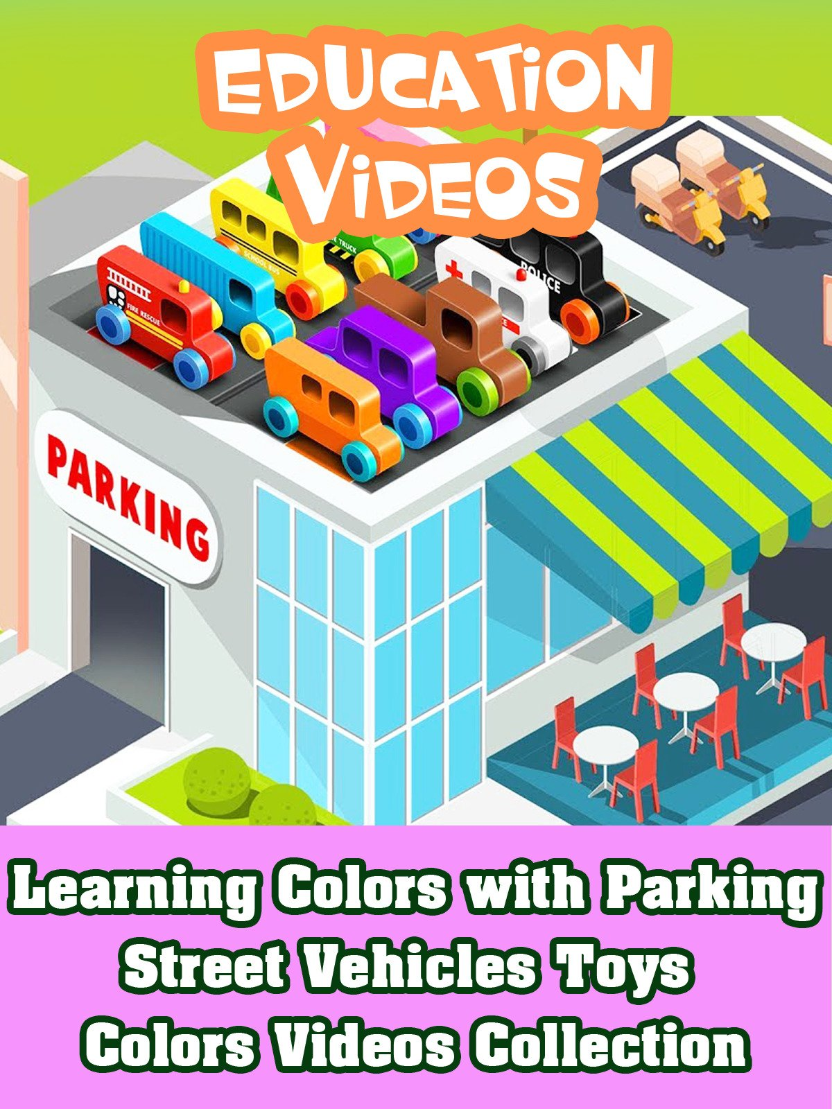 Learning Colors with Parking Street Vehicles Toys