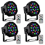 CO-Z LED Stage Lights with Remote, 4 Pack 18x3W RGB Par Can Lights, 4pcs DMX Controlled Sound Activated Stage Effect Lighting for DJ Home Party Festival Dancing Bar Club Wedding Church Uplighting