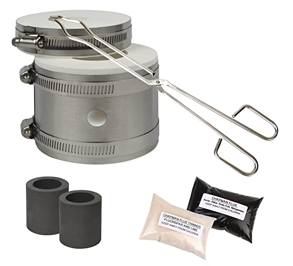 Mini Tabletop Pro Kiln Kit w/Tongs Chapman Flux Flux Thinner & 2 Graphite Crucibles Jewelry Making Gold Silver Melting Casting Gas Furnace Kit