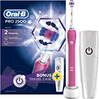 Oral-B Pro 2500 3D White Electric Rechargeable Toothbrush with Travel Case Powered by Braun (Pink)