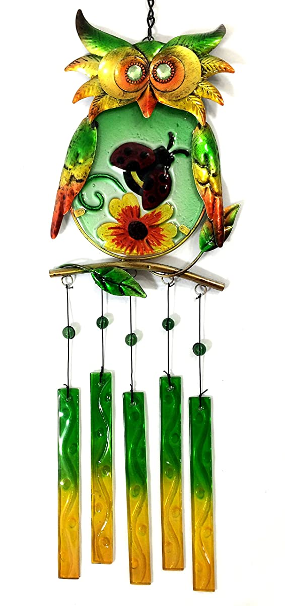 Bejeweled Display® Unique Owl w/ Ladybug on Stained Glass Wind Chimes
