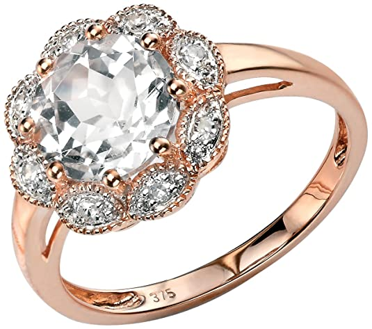 Elements Gold for Ladies 9ct Rose Gold White Topaz Flower Ring with Diamond Milgrain Surround